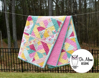 Bright modern florals baby, toddler, or lap quilt ~ Yellow, pink, and teal