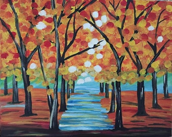 Acrylic Painting, Titled the Colors of Fall. Small Canvas Art