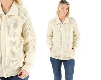 Hand Knit Cardigan Cream White 60s Cardigan Knit Wool Jacket Retro Fisherman Plain Grandpa Cardigan Vintage Button Up Comfy Cardigan . Large