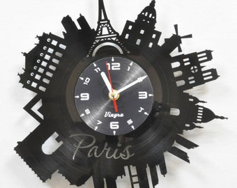 PARIS CLOCK Vinyl record Paris Wall Decor Eiffel Tower Wall  Paris Bedroom Decor Paris Wall Clock Parisian Decor Paris Wall Art Gift for Her