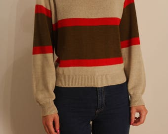 1980s Oatmeal Striped Boatneck Sweater S M