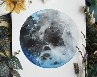 Blue Moon, Moon Art, Lunar Art, Full Moon, Luna