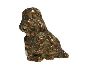 Vintage Solid Brass Longhaired Spaniel Pup Figuring