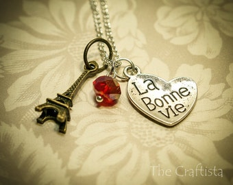 "Eiffel Tower Necklace -- ""La Bonne Vie"" The Good Life -- Birthstone Necklace -- Mom, Grandma, Sister, Best Friend"