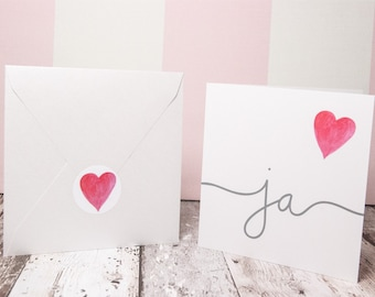 Invitation cards set of 10 for wedding/Watercolor design hand painted/with mother of pearl envelopes & Stickers