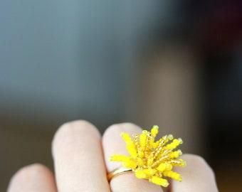 Dandelion Flower Adjustable Ring