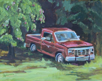 Red Ford Farm Truck Apple Tree Plein Air Painting