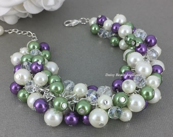 Purple and Olive Pearl Bracelet Chunky Bracelet Green Bracelet Pearl Jewelry Olive Bracelet Jewelry Gift for Her Purple Wedding Gift for Mom