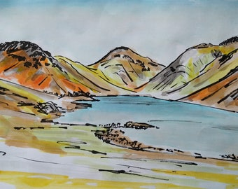 Wasdale, Original, Mounted watercolour and ink painting, Lake District, Art