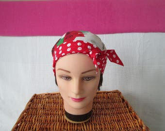 Scarf, chemo turban headband pirate woman with pink dots