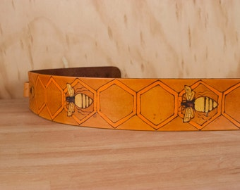 Leather Guitar Strap - Handmade in the  Hive pattern with bees and honeycomb in gold and antique tan  - Acoustic or Electric Guitars
