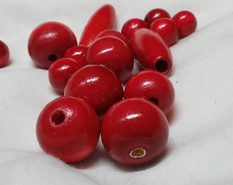 Beads, Wood, Red Orange, 19 assorted sizes and shapes, Round  5/8 to 1 inch, Oval Tube 1 3/4