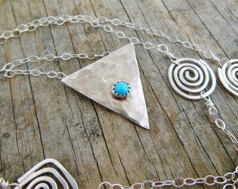 Silver Triangle Necklace, Blue, Sleeping Beauty Turquoise, Long Layering Necklace, Geometric Necklace For Her