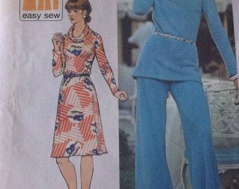 1960s Misses Knit Dress Pattern Size 16  Simplicity 6281 Misses Top Pants Dress  Pattern Jiffy Knits