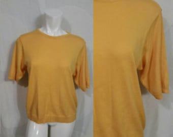 Thin sweater/cardigan shirt- Yellow color-1990s fashion by Pendelton classic-Summer shirt-Size medium-Womens tops-Womens fashion- USA-HEAR