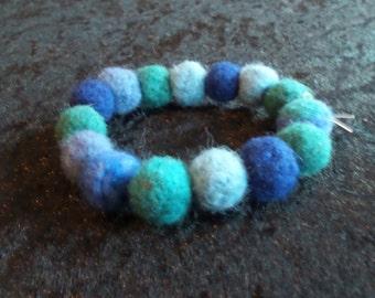 Green & Blue Felt Bead Bracelet