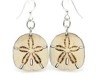 Sand Dollar - Earrings laser Cut from Sustainable Wood Source