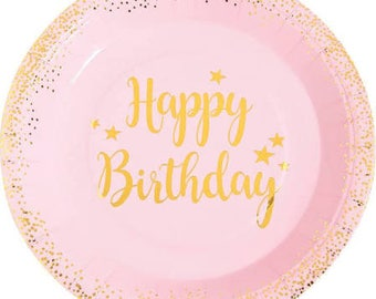 Golden Foil and Pink Party Dinner Plates  / Pink and gold plates / happy birthday plates/ Happy Birthday Plates