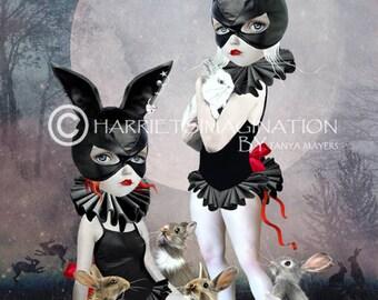 Pop surrealism Art Print   Rabbits Art Print   Masked Girls Art   Rabbit Girls   Art Print   Pop Surreal Art   Wall Art   Rabbit Rendezvous