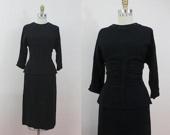 1940s vintage dress / 40s black studded dress / 40s evening dress / black rayon peplum dress / metal studs / sz m med medium