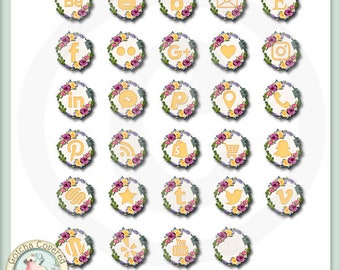 Social Media Icons Floral Wreath in yellow