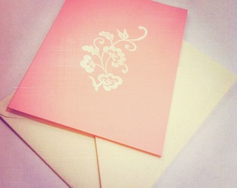 PRETTY IN PINK - 5 prim feminine folding cards in rose pink with white floral motif hand stamped and embossed - with envelopes