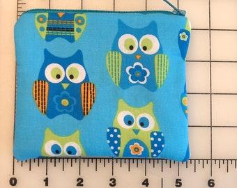 Zippered pouch -Blue Owls