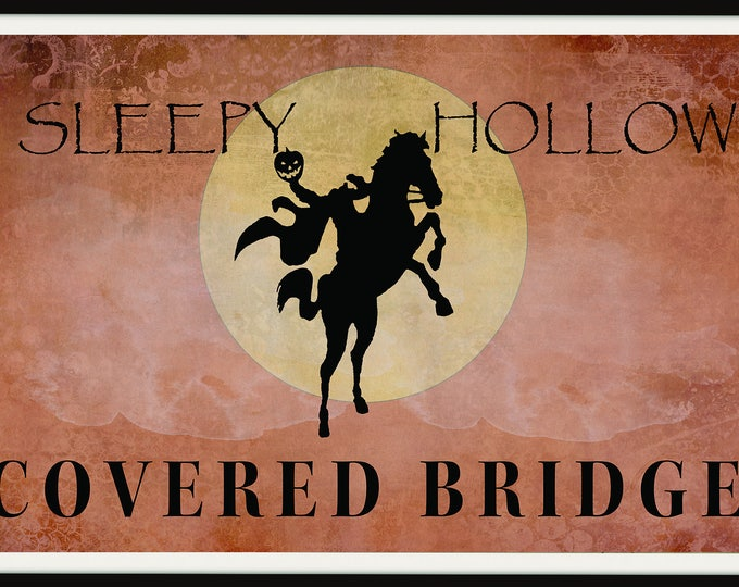 Halloween Sign, Halloween Printable, Halloween Decoration, Sleepy Hollow, Headless Horseman, Pumpkin, Moon