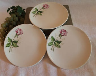 """Vintage Set of 3 Knowles China 6.25"""" Bread Plates - Pink Tea Rose Pattern in Excellent Condition!"""