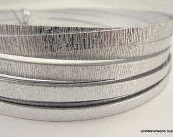 Flat Silver Embossed Anodized Aluminum Wire, Flat Wire, 5 x 1 mm, 20 foot coil, Silver Wire, Textured Wire, Wire Wrapping DIY