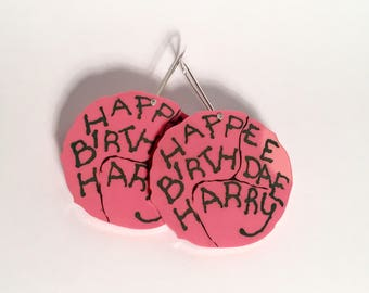 Happee Birthdae Harry Potter Hagrid cake drop earrings, pink birthday cake Philosopher's Stone
