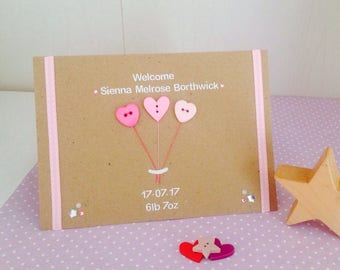 personalised new baby girl cards handmade baby cards personalised baby cards congratulations baby girl card