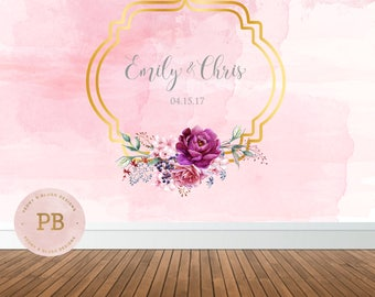 Digital Wedding Backdrop, Pink and Gold Wedding, Floral Backdrop, Watercolor, Bridal Shower Backdrop, Sweet Table Backdrop, Buffet Table