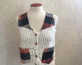 Crochet Top Sheer with Rust Brown Plaid 80s Crop Top Indian Cotton Button Up DEADSTOCK Small