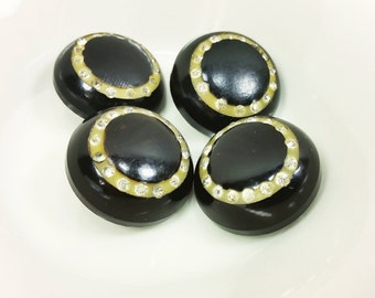 Vintage Domed Black Buttons with Ring of Rhinestones, 7/8 Inch 22 mm Shank Designer Buttons