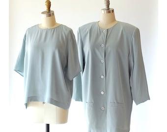 vintage Neiman Marcus powder blue silk blouse and jacket set / size medium large