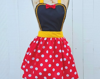 MINNIE MOUSE apron women's Minnie Mouse  dress up retro apron in  red  Polka Dots