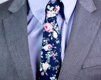 Dark Blue Floral Tie,Retro Tie, Casual, Men's, Groomsmen , Vintage , Handmade , Wedding ,Gift ,Skinny, Classic, Necktie,Prom,Boyfriend