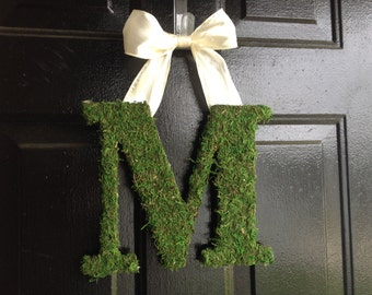 "13"" Moss Covered Monogram, Moss letter, Personalized wreath, wedding gift, summer decor, door monogram, wreath, wreaths"