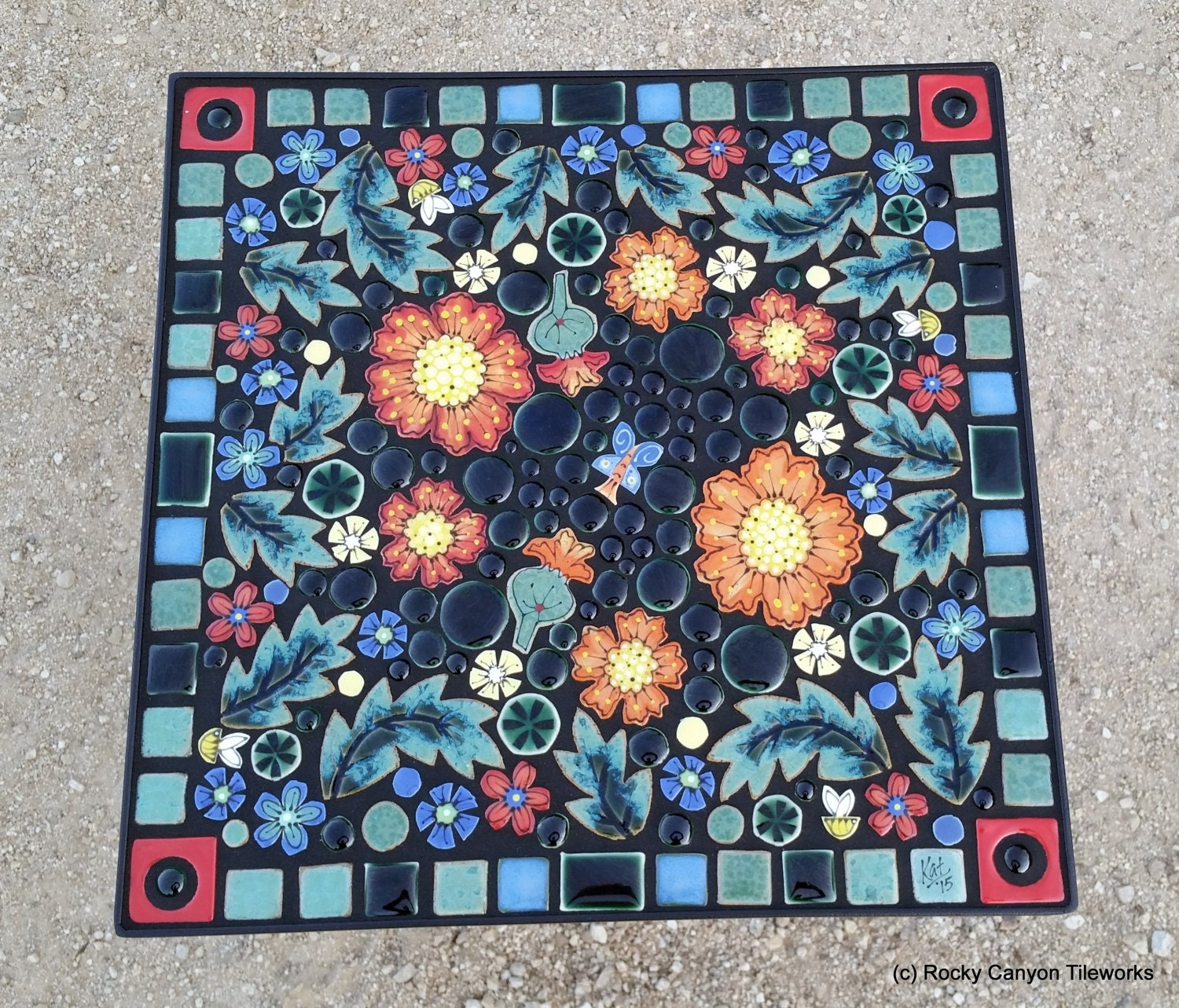 16 Square mosaic garden art tile table. Handmade