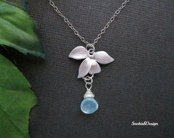 Custom Birthstone Necklace, Orchid Necklace, Flower Necklace, Dainty Necklace, Bridesmaid Necklace, Wedding Necklace, Bridal Jewelry, Silver