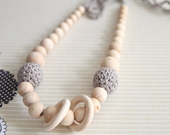 Taupe beige nursing rings necklace. Girls crochet necklace. Mammy and baby teething necklace.