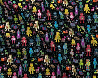 Robots Fabric - Robots In Space - Black By Cecca - Robot Sci-Fi Kids Retro Robotics Toy Colorful Cotton Fabric By The Yard With Spoonflower
