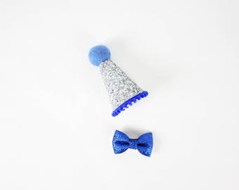 Dog Birthday Hat & Small Bow Tie | Pet Birthday Crown | Dog Gift Set | Dog Party Hat | Puppy Cat Kitten Pig Birthday Hat | Royal Blue Silver