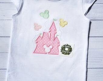 Girls Disney Castle Shirt, Magic Kingdom Castle Shirt for Girls, Girls Magic Kingdom Shirt, Princess Castle Applique Shirt for Girls