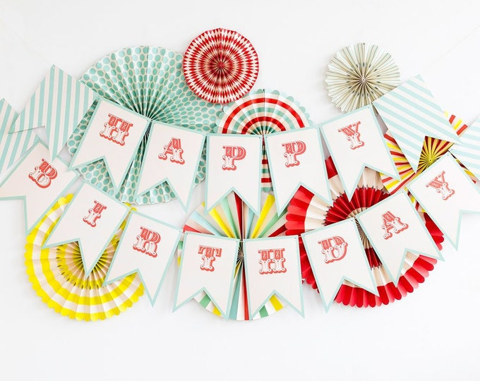 Carnival Happy Birthday Banner, Circus Themed Party, Birthday Aqua and Red Banner, Vintage Style  Birthday Banner, Circus Birthday Banner