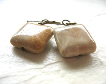 Fossil Earrings, Fossilized Coral Stone Dangle Drop Earrings, Artisan Stone Fossilized Coral Jewelry, Gemstone Jewelry