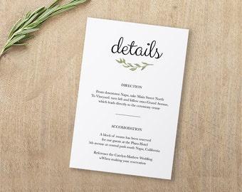 Wedding Enclosure Card, Details Card, Information card, Printable, Wedding Enclosure, Info Card, Template, PDF, Instant Download #SPP011_wd