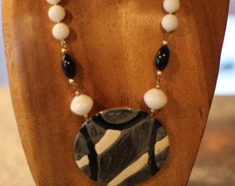 Vintage Black and White Enamel Necklace