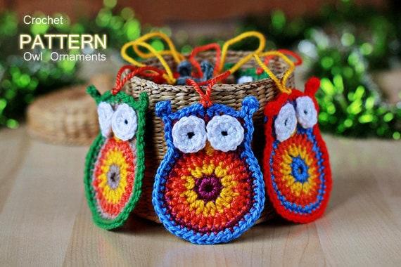 Crochet Pattern Crochet Owl Ornaments Pattern No 012